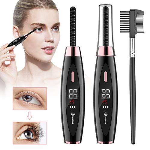 Heated Eyelash Curler, EIVOTOR 【2020 NEWEST】 Electric Eyelash Curler USB Rechargeable Eyelash Brush with LED Display 3 Temperature Gears Quick Heating, Natural and Lasting