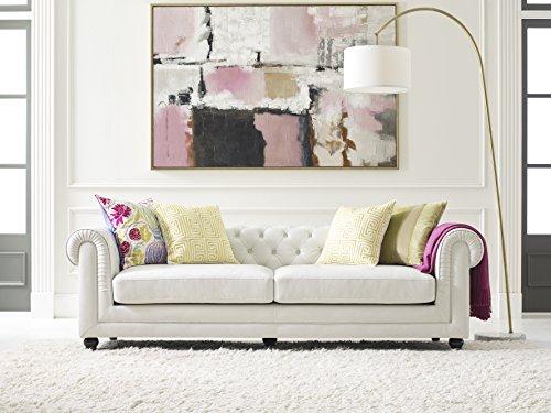 Elle Decor Amery Tufted Sofa, Bonded Leather, Ivory