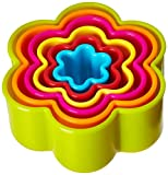 R&M International Scallop Flower Cookie and Biscuit Cutters, Assorted Sizes, Bright Colors, 6-Piece Set