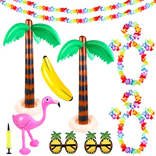 Aodaer 17 Pieces Inflatable Palm Trees Flamingo Banana Toys with Air Pump Pineapple Sunglasses and Hawaiian Lei Flower Garlands Luau garlands Banners for Hawaiian Luau Summer Party