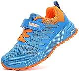 KUBUA Kids Sneakers for Boys Girls Running Tennis Shoes Lightweight Breathable Sport Athletic Blue Orange