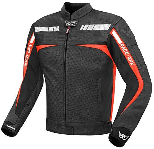 Berik Conquest Motorrad-Lederjacke Gr. S, schwarz/red