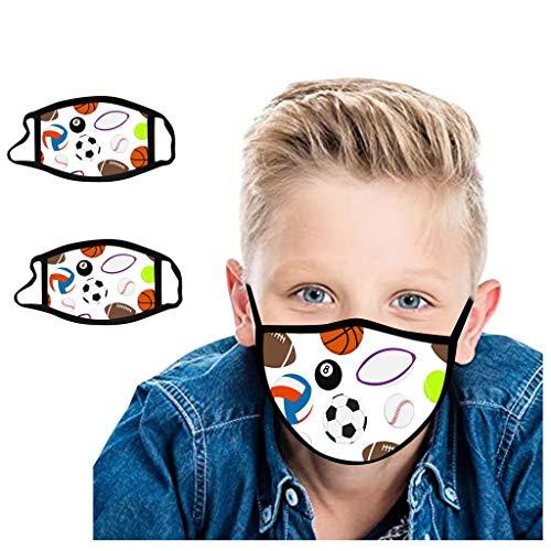 Efanhouy Kinder Multifunktionstuch Bandana Maske Waschbar Stoffmaske Baumwolle Atmungsaktiv Mund-Nasen Bedeckung Fußball Basketball Rugby Baseball Drucken Halstuch Jungen Mädchen