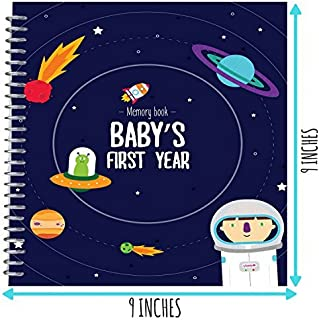 Astronaut Baby's First Year Memory Book - 12 Stickers Included - First Year Photo Album with Stickers and Frames to add Your Pictures in a Gorgeous Way - Outer Space Edition. Great Gift for New Moms