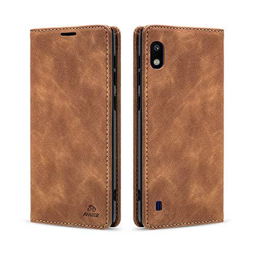 AFARER Einfache Art Brieftasche Handyhülle Kompatibel mit Samsung Galaxy A10 - Braun