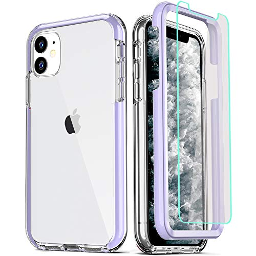 COOLQO Compatible for iPhone 11 Case, with 2 x Tempered Glass Screen Protector Clear 360 Full Body Coverage Hard PC+Soft Silicone TPU 3in1 Heavy Duty Shockproof Defender Phone Protective Cover Purple
