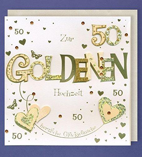 Goldhochzeit Grußkarte 50 Handmade Applikation Zwei goldene Herzen 21x21cm