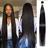 Brazilian Straight Hair 1 Bundle 40 inch VIPbeauty 10A Grade 100% Unprocessed Long inch Human Hair Weave Extensions Natural Black Color Can Be Dyed