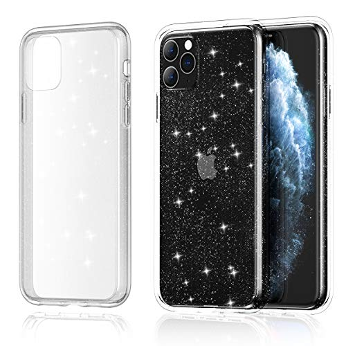 Meifigno Glitter Designed for iPhone 11 Pro Max Case, Hard Back with Soft TPU Bumper, [Military Grade Protection], Clear Bling Case Compatible with iPhone 11 Pro Max 6.5 inch 2019, Glitter Crystal