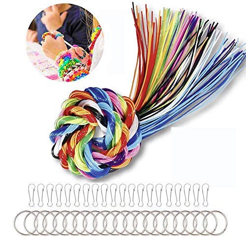 Deer Platz 200 Stück Scoubidou Bastelsetm, Scoubidou Saiten DIY Kunststoff, in 20 Farben mit 20 PCS Snap Clips und 20 PCS Schlüsselbund Ringe