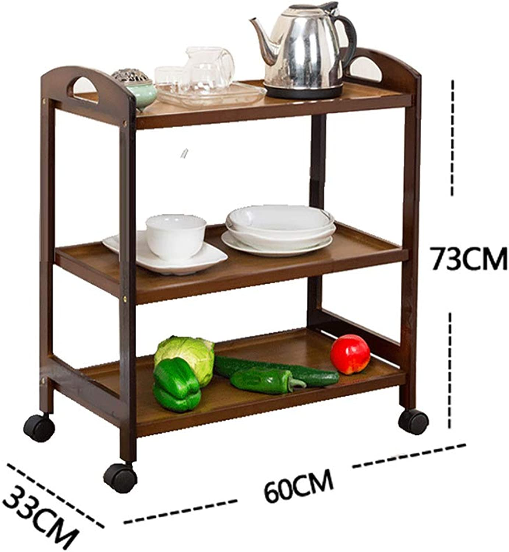 Kitchen Shelf All Purpose Shelving, Tier Serving Trolley,Wood Storage Units Kitchen Storage Racks (color   A, Size   60  33  73cm)