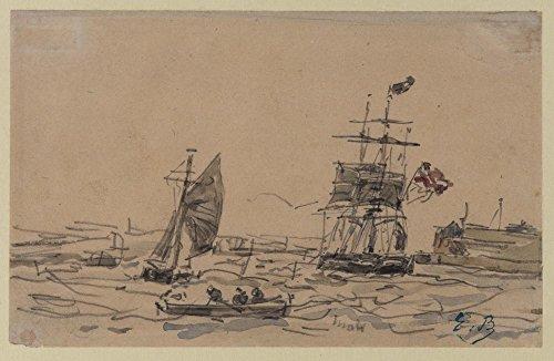 Das Museum Outlet–View von Antwerpen Hafen mit Segeln Schiffe und Ruderboot–Poster Print Online kaufen (101,6x 127cm)