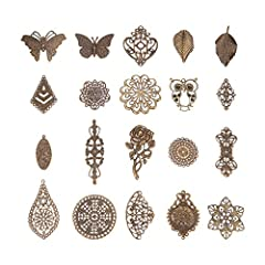 Package include: 120 Pieces Filigree Charms, 19 different styles, 6 pieces for each style; Great assortment for your jewelry making or DIY craft Material: Iron; Metal Color: Antique Bronze; Style: Tibetan Style, which creates out unique effect that d...