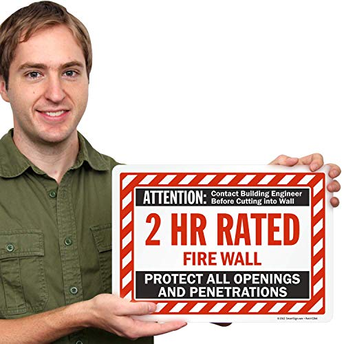 SmartSign - S-8944-EU-10x14-D1 Attention - 2 Hr Rated Fire Wall Label by | 10