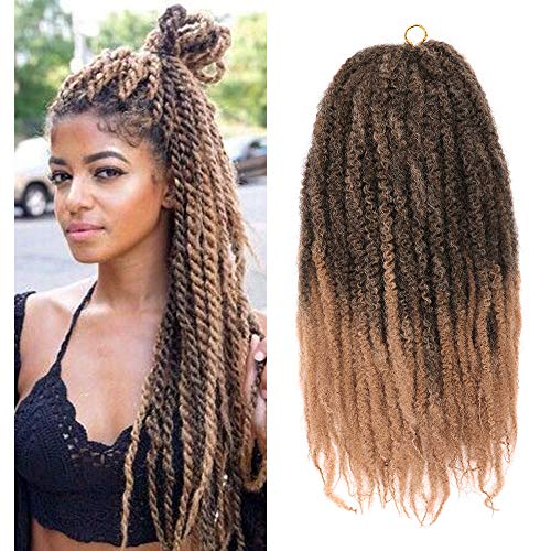 Ombre Brown Marley Braiding Hair Afro Kinky Curly Marley Hair for...