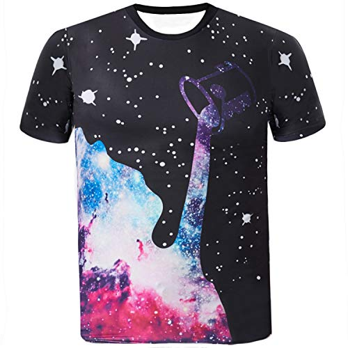 Sykooria Herren T Shirts Tees Kuazarm 3D Galaxy Personalisierte Stylish Unisex Sommer Lusting Tee T-Shirt