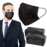 Face Mask for Adults - Individually Wrapped 50 Pack Black Disposable Masks(7.1' x 3.8'), 3 Ply Paper Breathable Mask with Elastic Ear Loops