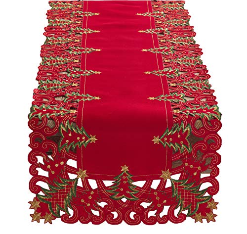 Fennco Styles Pandoro Collection Holiday Embroidered Christmas Tree Cutwork Border 16 x 68 Inch Table Runner – Red Table Runner for Christmas Dinner, Family Gathering, Special Events and Home Décor
