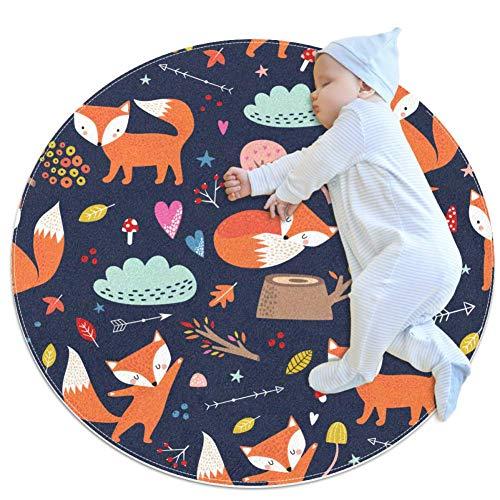 Dessin animé Orange Fox Bébé Ramper Tapis antidérapant Tapis de Jeu bébé imperméable Play Tapis Salon Tapis pour Home Enfant Décoration 80x80cm