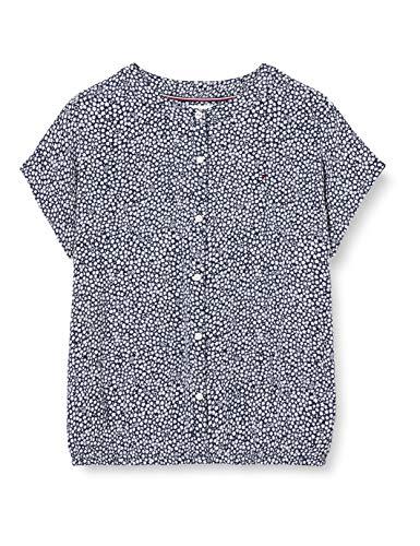 Tommy Hilfiger Top S/s Camiseta, Azul (Twilight Navy/Ditsy Flower Print 0gy), 10 años (Talla del Fabricante: 10) para Niñas