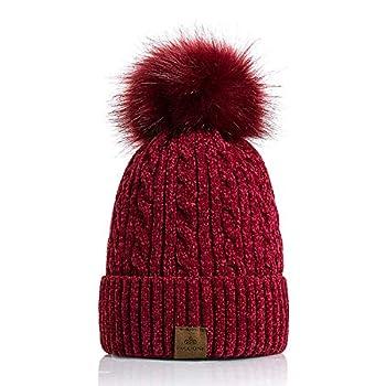PAGE ONE Women Winter Pom Pom Beanie Hats Warm Fleece Lined,Chunky Trendy Cute Chenille Knit Twist Cap/Red Wine