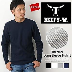 [ヘインズ] BEEFY サーマル ワッフル クルーネック Tシャツ 長袖 ビーフィー 無地 丸首 防寒 HM4-Q103 メンズ ブラック 日本 M (日本サイズM相当)
