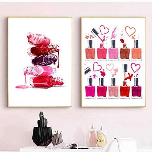 LLXHG nagellak, kunstdruk, make-up, kunstdruk, voor badkamer, decoratie, vanity, kunst, linnen, schildernails, salon, studio, wanddecoratie, 40 x 60 cm, zonder lijst