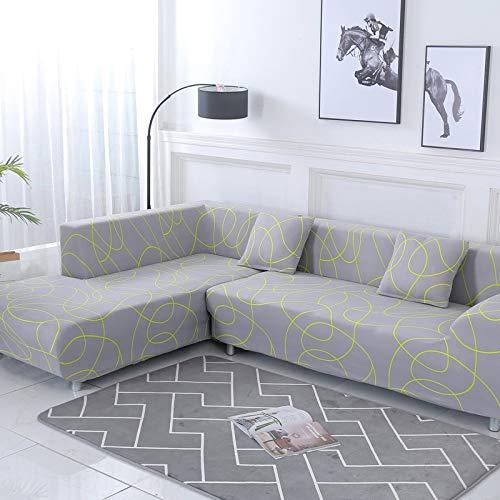 ASCV Funda de sofá con patrón geométrico para sofá seccional en Forma de L Funda de sofá Toalla Fundas de sofá para Sala de Estar A5 4 plazas