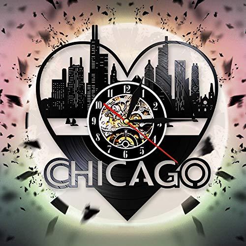 UIOLK Creatividad Retro American City Chicago Skyline Reloj de Pared 3D Diseño Reloj de Pared con Registro de Vinilo Reloj de Pared 3D Idea de Regalo de Viaje
