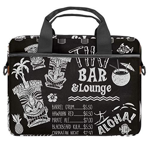 Lounge Chalkboard Cocktail Menu Laptop Case Canvas Pattern Briefcase Sleeve Laptop Shoulder Messenger Bag Case Sleeve for 13.4-14.5 inch Apple MacBook Laptop Briefcase