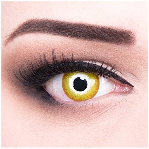 Funnylens 1 Paar farbige Crazy Fun gelbe weisse sonne Sunburst Jahres Kontaktlinsen. Perfekt zu Halloween, Karneval, Fasching oder Fasnacht mit gratis Kontaktlinsenbehälter ohne Stärke!