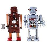 Homyl 2pcs Jouets Mécaniques Anciens Robot Liquidation en Métal Enfants Marron + Jaune