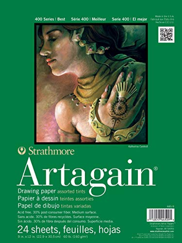 Strathmore Paper 400 Series Artagain Pad, 9'x12', Assorted