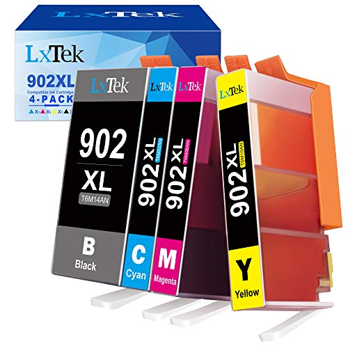 LxTek Compatible Ink Cartridge Replacement for HP 902XL 902 XL Ink Cartridge to use with Officejet 6978 6968 6962 6958 Printer (4 Pack)