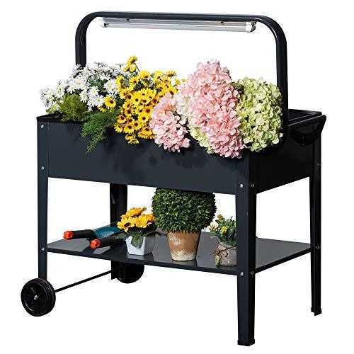 Outsunny Hochbeet mit LED-Licht Rädern und Regal für Garten und Balkon Kräuterbeet Pflanzenbeet Stahl Dunkelgrau 90 x 51 x 100 cm