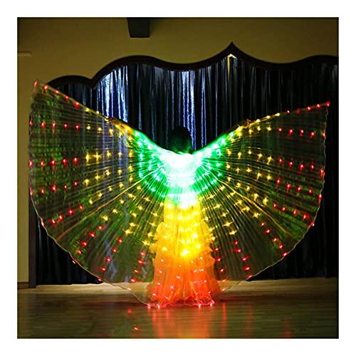 SUKDO Alas De ngel ISIS LED para Mujer, Alas De Danza del Vientre, Ropa De Baile para El Escenario, para Cosplay, Fiesta De Navidad, Disfraz De Carnaval,D