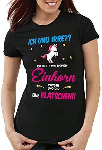 style3 ICH und IRRE? Einhorn absteigen klatschen Damen T-Shirt Einhörner Fun Spruch Mädchen Tochter JGA, Farbe:Schwarz, Größe:M