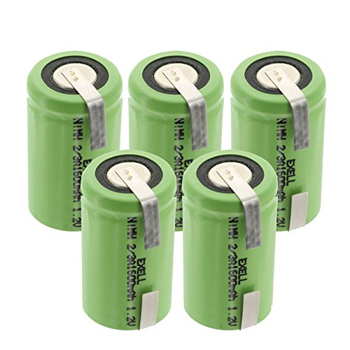 5x Exell 2/3A 1600mAh 1.2V NIMH Rechargeable Batteries w/Tabs for use with cameras, camcorders, mobile phones, pagers, medical instruments/equipment, high power static applications FAST USA SHIP