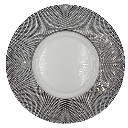 Urquid Linen, Dotted Glass 13' Charger Plate, Set Of 4, Use for Elegant Wedding Décor, Luxe Dinner Parties and Special Events, and Any Elegant Occassion (Silver)