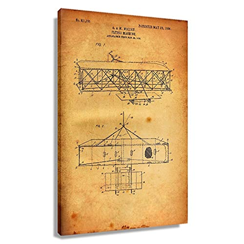 WODEFAKE Wright Brothers Flying Machine Patent Vintage Poster for Bedroom Rectangular Wall Art Decoration Home Wall Pictures for Bathroom Giclee Printing Canvas Artwork for Kitchen (16x24inch(40x60cm),Framed)