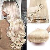 Double Weft Extension A Clip Cheveux Humain Naturel 8 Bandes Maxi Epaisseur Rajout Cheveux Lisse 100% Remy Human Hair Clip In Extension [14'/35CM,#70 Blond Blanc]