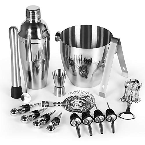 Cocktail Shaker Bar Set, 16 Piece Stainless Steel Bartender Kit for Home and Bar, Big Ice Bucket, Martini Shaker, Mixing Spoon, Strainer, Tongs, Bottle Opener, Jigger and More