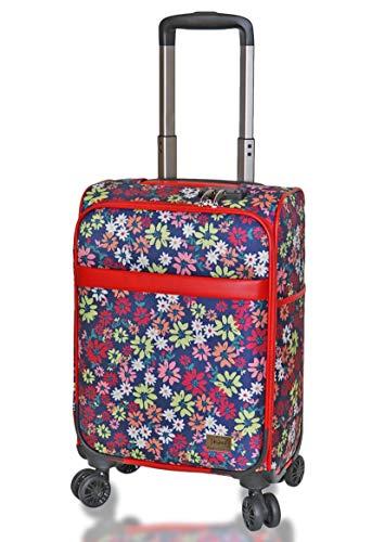 (キウ) kiu スーツケース TSAロック ソフトキャリーケース Mサイズ 20インチ Sサイズ 18インチ スーツケース 軽量 機内持ち込み 旅行 出張 (S 18インチ, ボヘミアンフラワー)