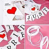 Just Married Girlande Vintage Rustikal Wimpelkette Banner mit Seil Hochzeitsgirlande als Deko für Hochzeit Fest Party Brautdusche Junggesellinnenabschied oder Foto Photo Booth Fotografie - 5
