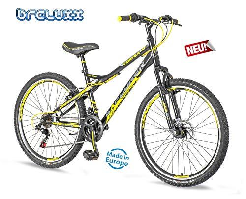 breluxx 26 Zoll Mountainbike Hardtail Venera Sport Vortex Yellow 18 Gang Shimano, Scheibenbremse Frontfederung MTB, inkl. Schutzbleche + Reflektoren, Modell 2019 - 2