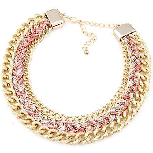 RQZQ Collar Moda Cadena de Oro Trenzado Collar Llamativo para Mujer Collar Vintage Gargantilla Collares Colgantes