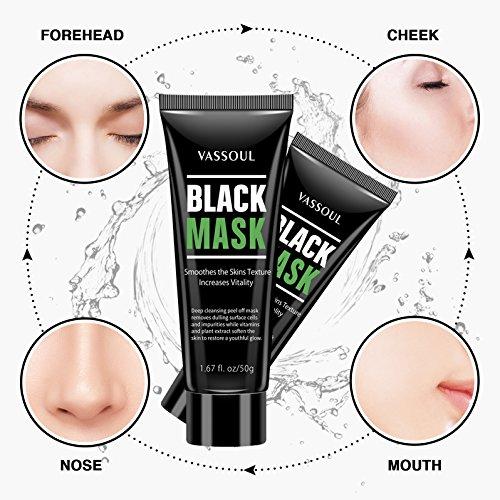 Vassoul Blackhead Remover Mask, Peel Off Blackhead Mask - Deep Cleansing Black Mask, Bamboo Activated Charcoal Peel-Off Mask (V002)