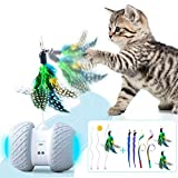 Robotic Interactive Cat Toys, Upgraded Automatic Rotating Cat Toy with Colorful LED Light, Feather and Pompom for Cat/Kitten Pet Entertainment Hunting Exercise