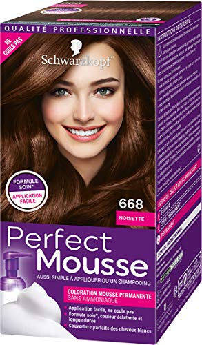 Schwarzkopf - Perfect Mousse - Coloration Cheveux - Mousse Permanente sans Ammoniaque - Noisette 668