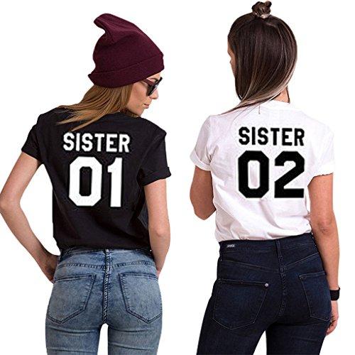 Minetom Best Friends Sister T-Shirt Mit Aufdruck Für Damen Mädchen Sommer Weiß Schwarz Oberteile Geburtstagsgeschenk A Weiß - Schwarz 01 DE 34